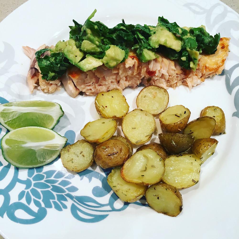 Salmon with Avo Salsa
