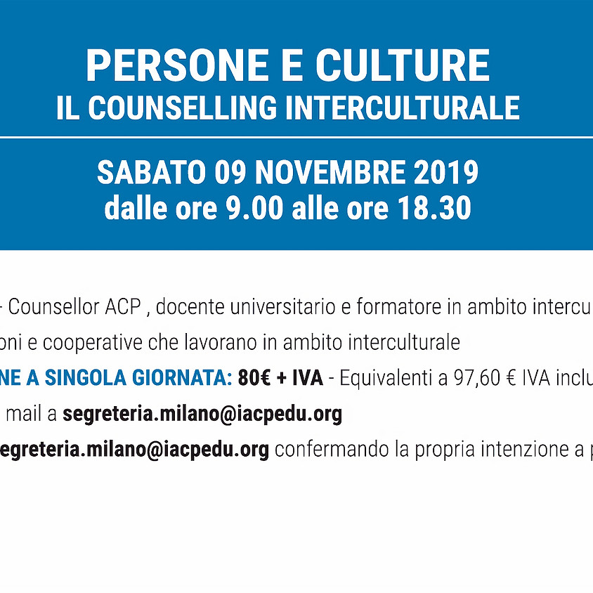 PERSONE E CULTURE: il counselling interculturale