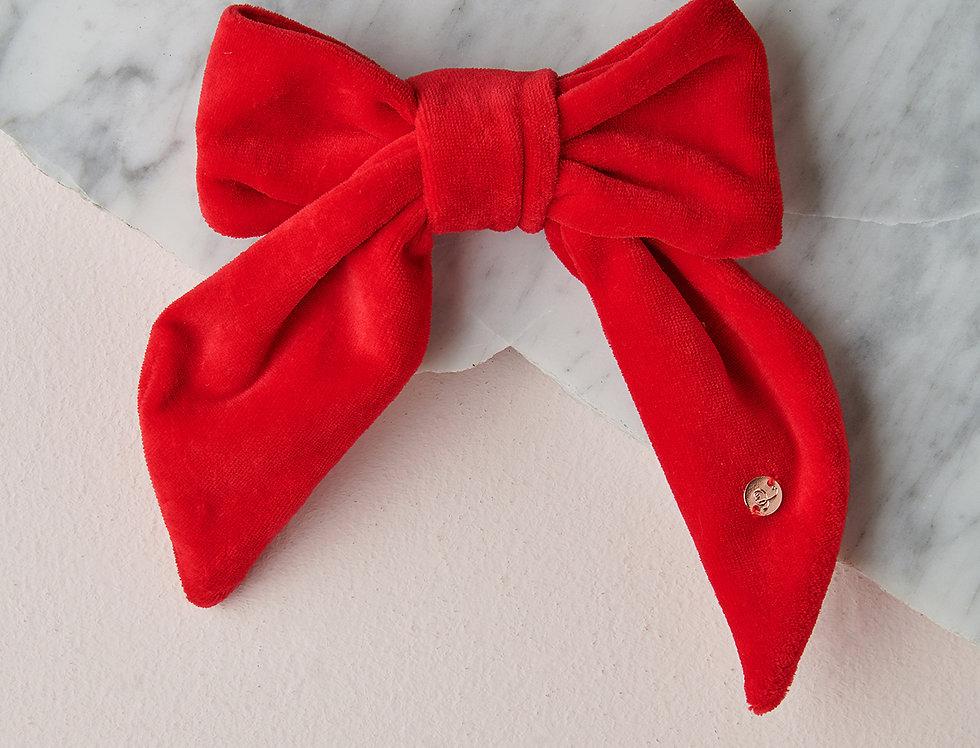 Velour bow barrette