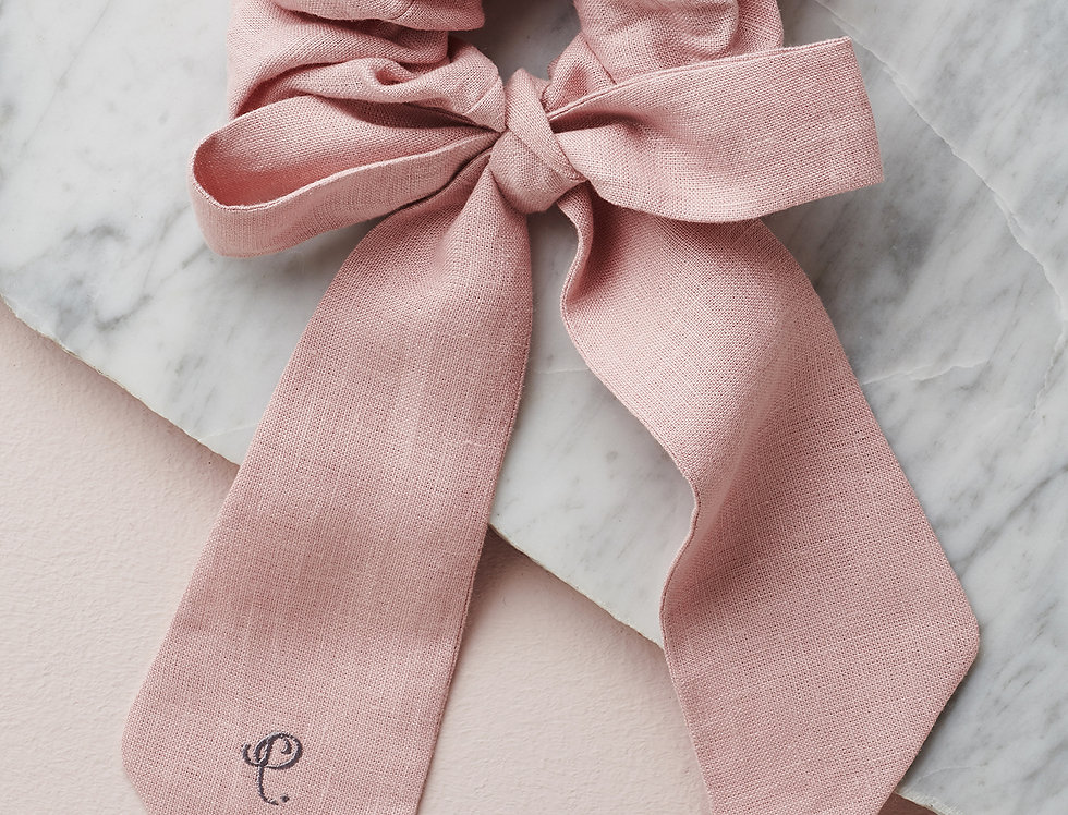 Long Linen ribbon scrunqi