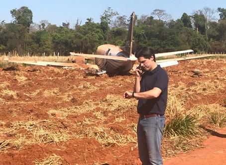 Avião com candidato ao governo Daniel Vilela sai de pista durante o pouso em Itapaci, GO