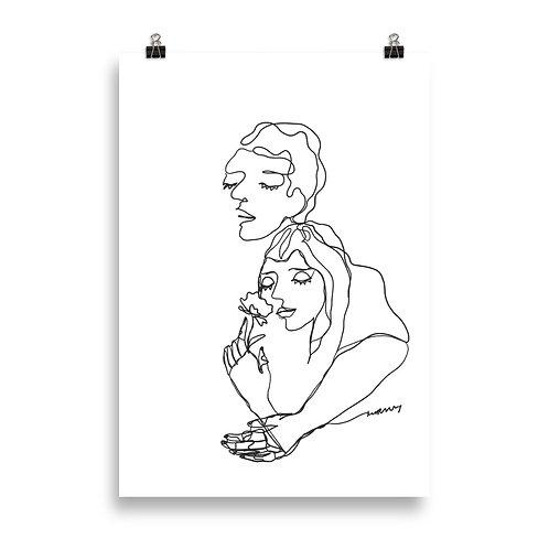 Cosy Couple Hugging Minimalistic Line Art Poster