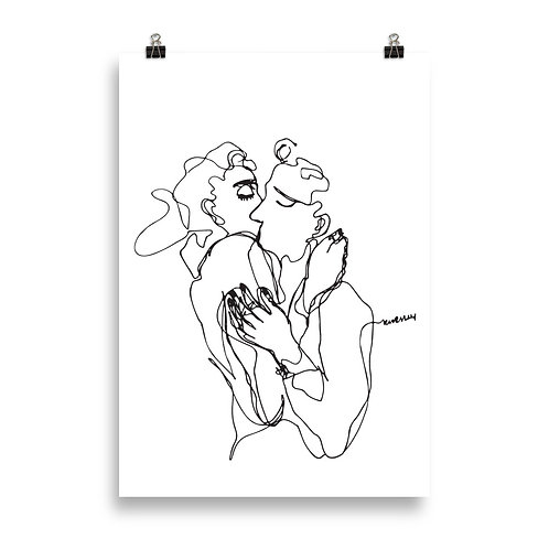 Minimalistic Lovers Kiss Art Poster