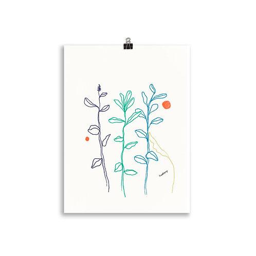 Sunset Leaf Minimalistic Art Poster