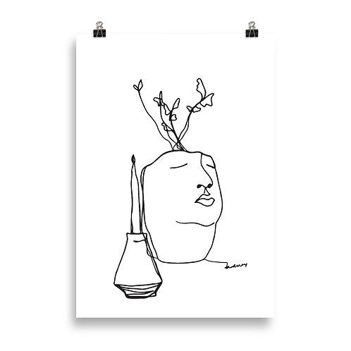 Candle and Pot Art Poster, Minimalistic Line Art Print