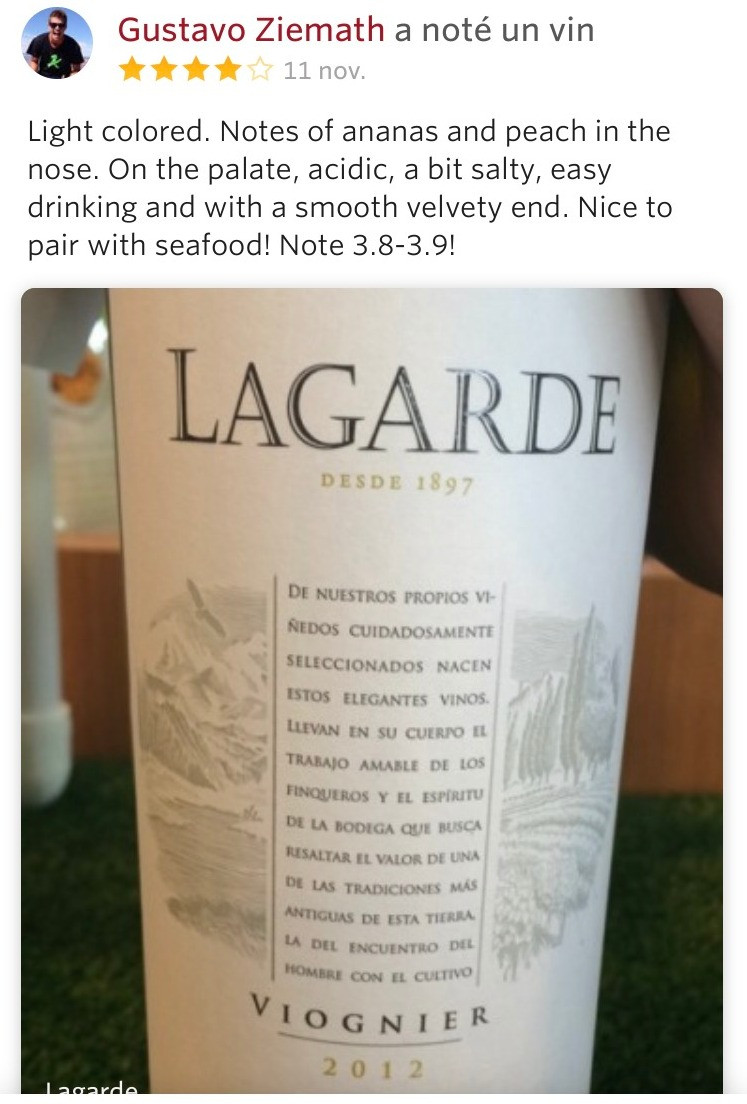 Descrição Lagarde Viognier Vivino