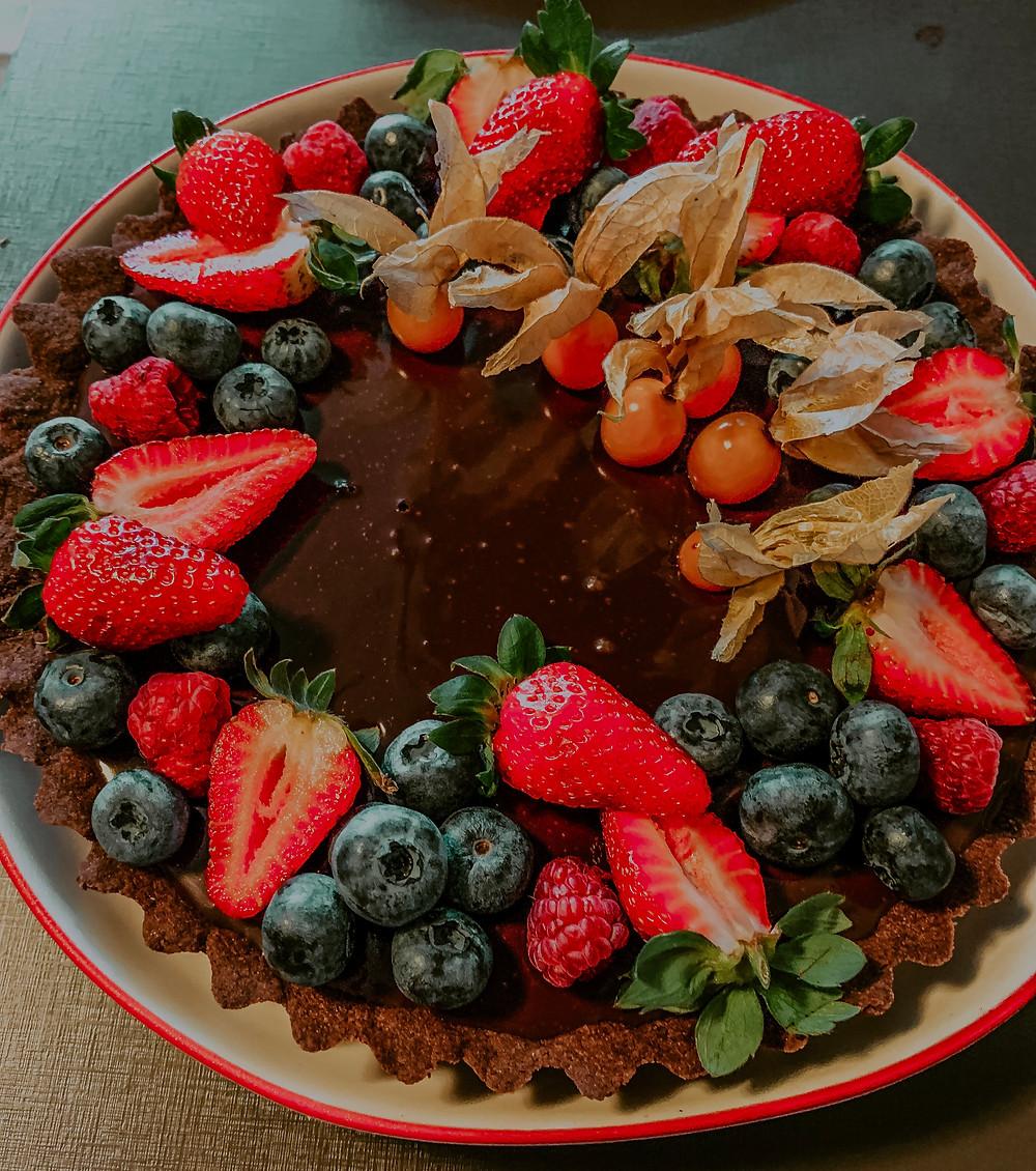 Torta de Chocolate com Frutas Vermelhas