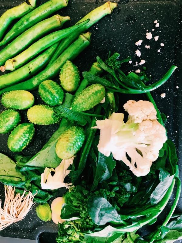 Quiabo, maxixe, brócolis, alho poró e couve flor