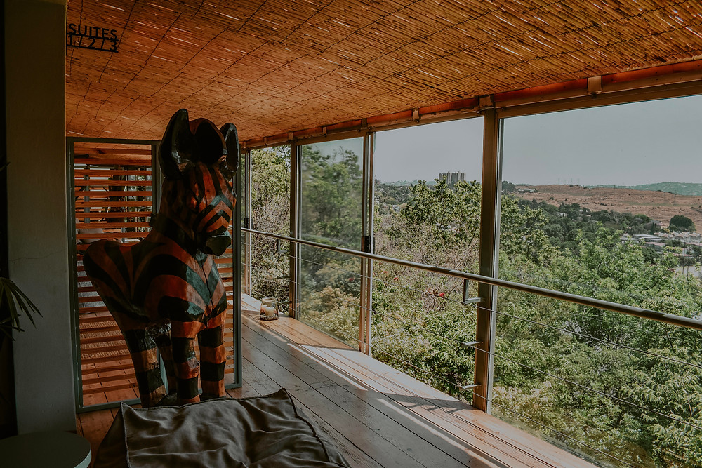 Vista da recepção da Pablo House, em Joanesburgo
