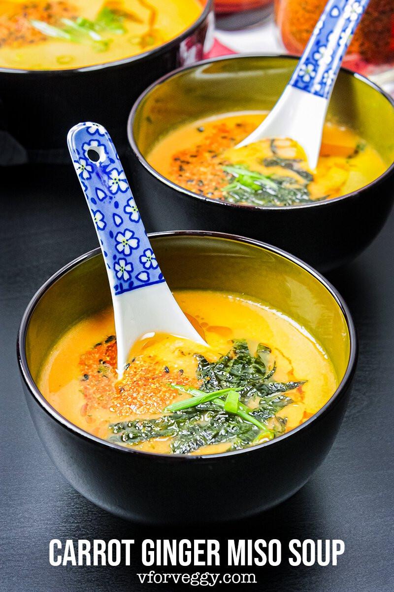 Sopa de cenoura, gengibre e missô