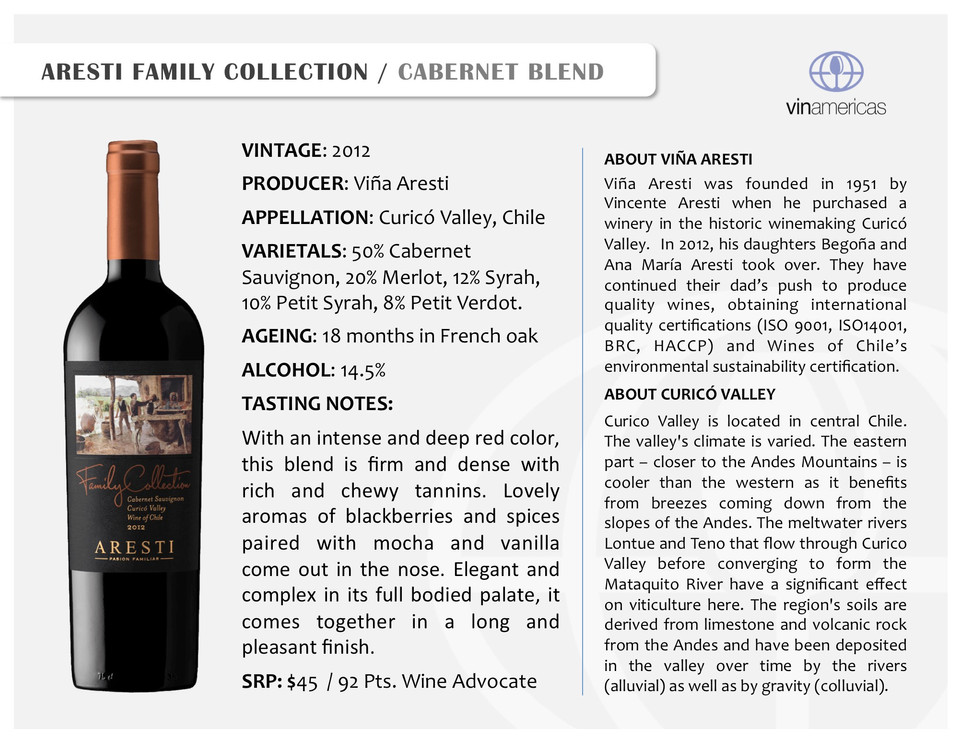 ARESTI FAMILY COLLECTION | CABERNET BLEND