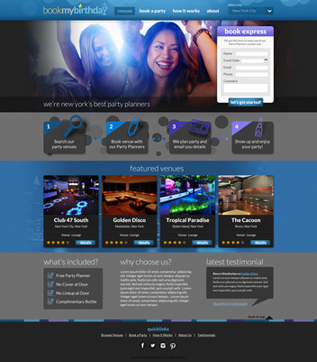 Party Booking Website Design