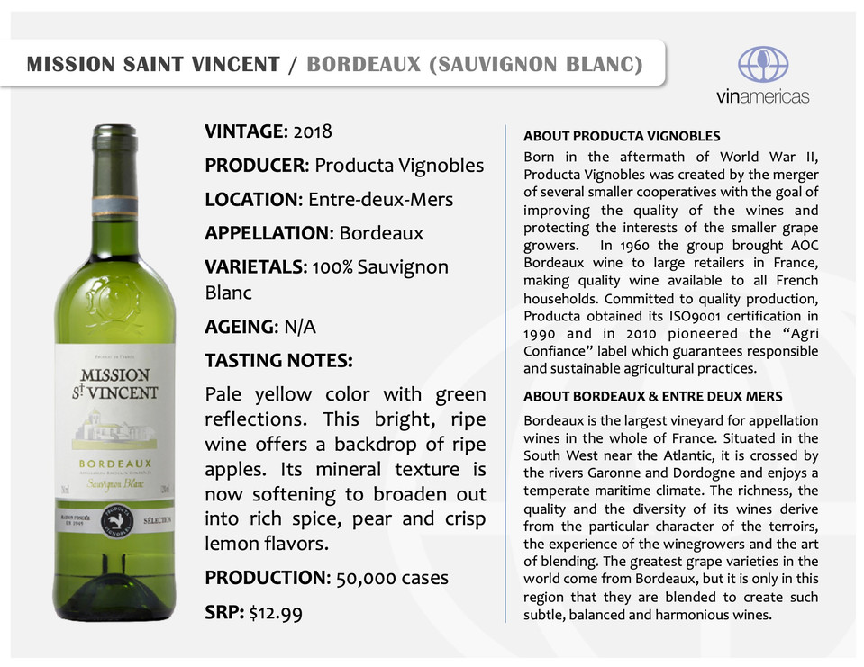 MISSION SAINT VINCENT | BORDEAUX (SAUVIGNON BLANC)