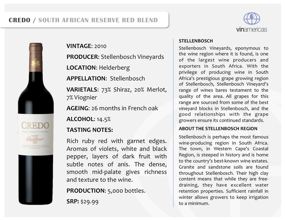 CREDO | SOUTH AFRICAN RESERVE RED BLEND