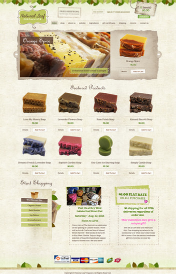 Homemade Soaps Website Design
