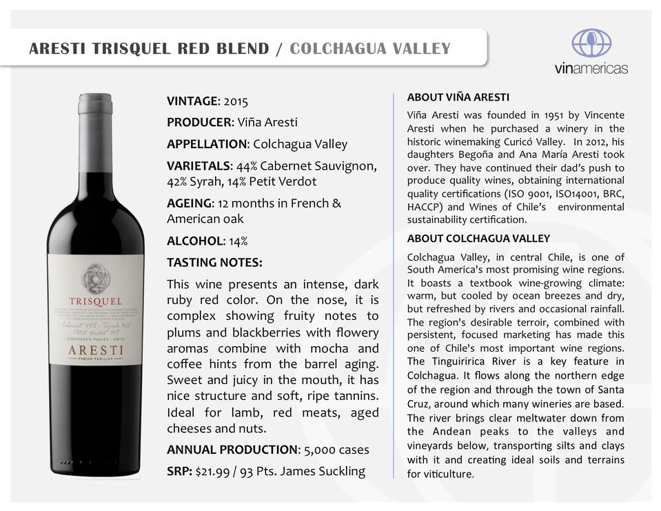 ARESTI TRISQUEL RED BLEND | COLCHAGUA VALLEY