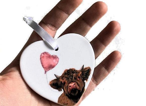 Love Moo Heart Ceramic Decoration