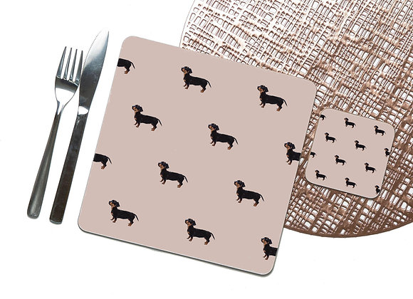 Pink Tile Dachshund Coaster / Placemat
