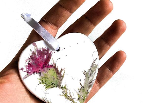Thistle Heart Ceramic Decoration