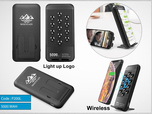 P200L -- Lighted Wireless Power Bank 5000 (MAH)