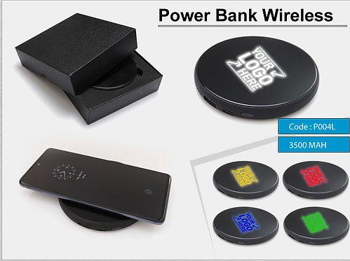 P004-L -- Lighted Wireless Power Bank 3500 (MAH)