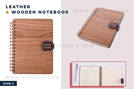 WNB-2 -- Leather & Wooden Notebook