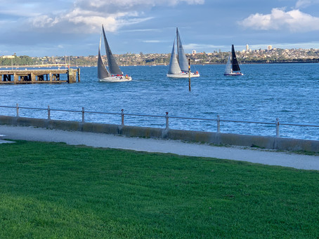 Devonport Reason to visit. The racing is close, passing the Devonport Wharf.