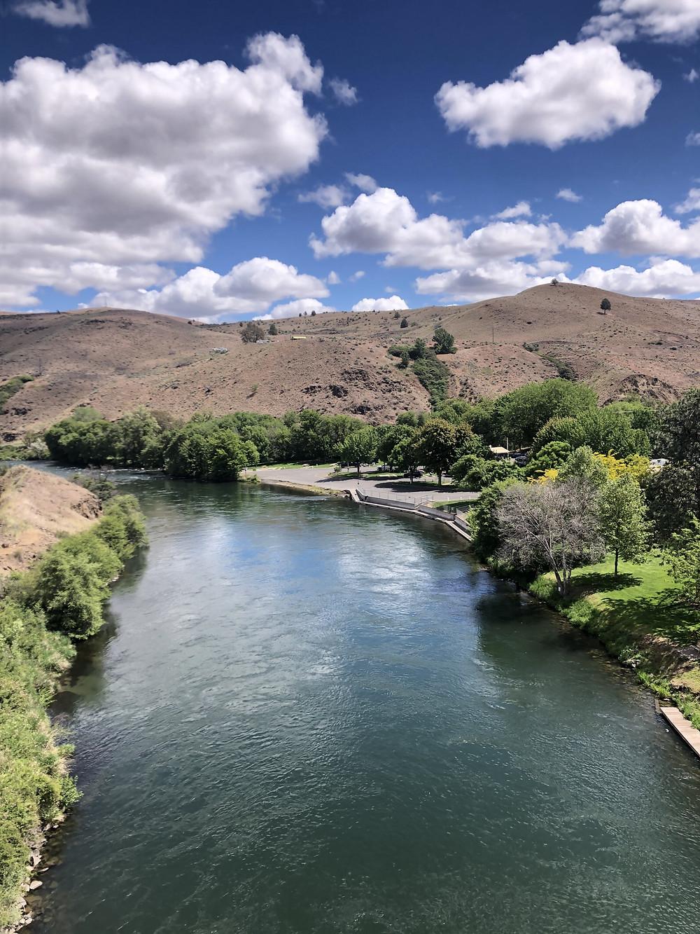 The Deschutes River that runs through Maupin Oregon