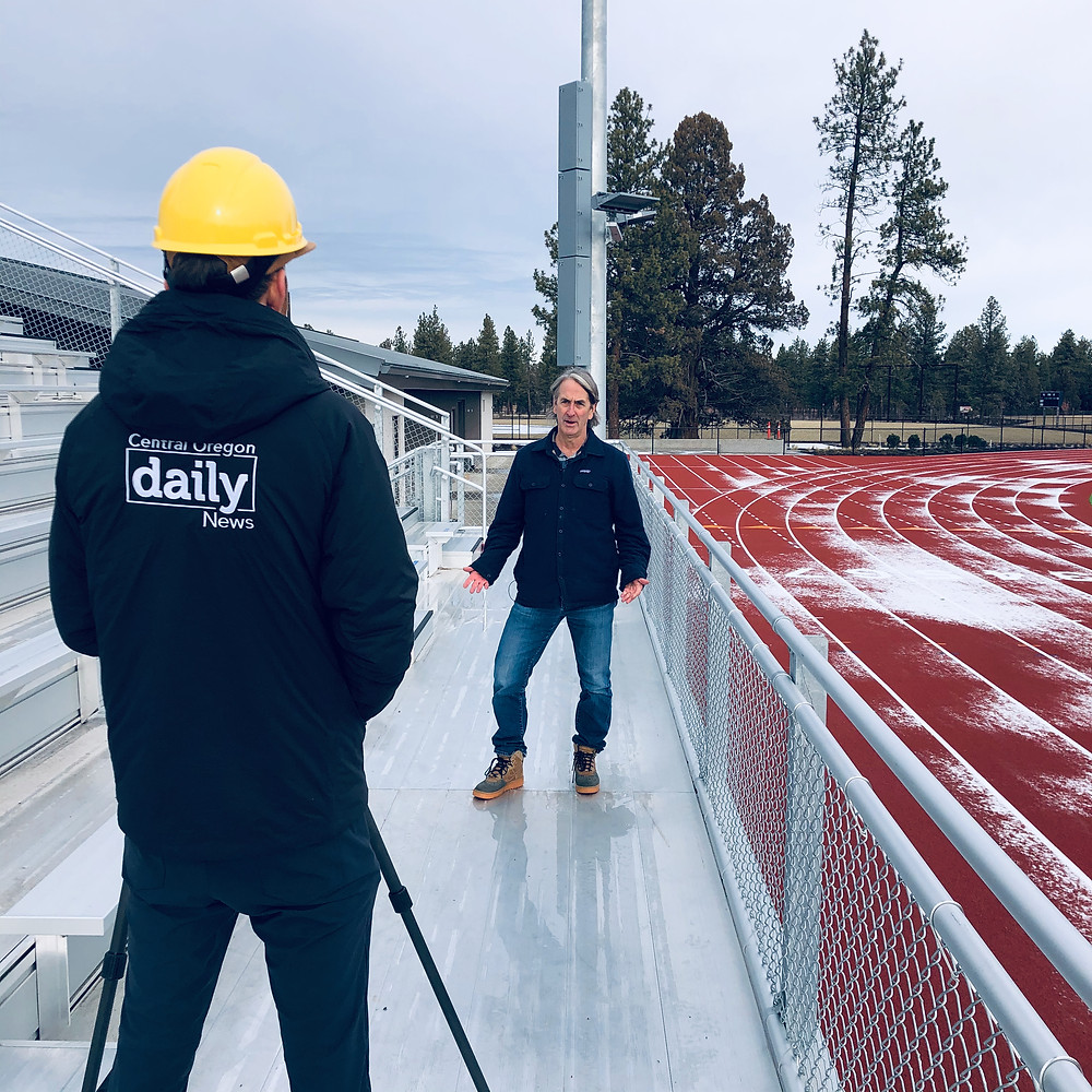 Michael Bergmann being interviewed by Central Oregon Daily in December