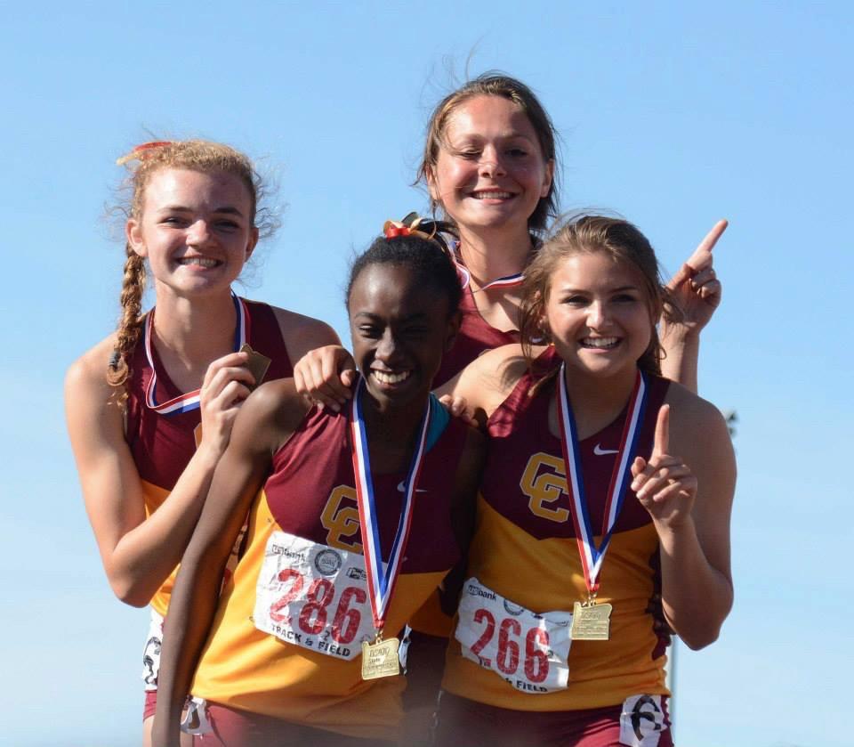 Riley, Malika, Olivia, Cassidy on the victory stand