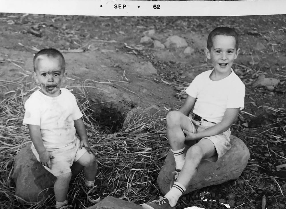 Michael Bergmann and his brother after an ill fated attempt at something. 20 months old
