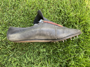 Fully leather cowhide track spikes with leather stitched soles. Spikes were not removable