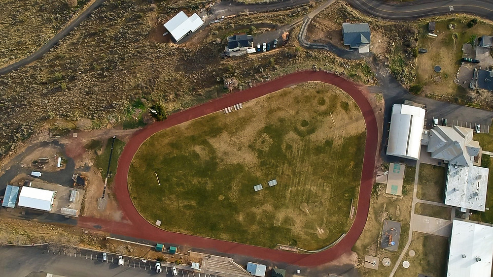 Current aerial photo of the Maupin SWCHS Track and Field