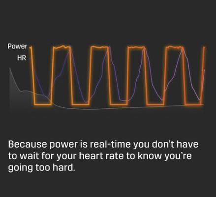 Power memberikan data langsung tanpa ada lag (keterlambatan) dibandingkan dengan data dari Heart Rate (detak jantung).