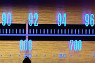 70 s Old radio dial close-up with glowin