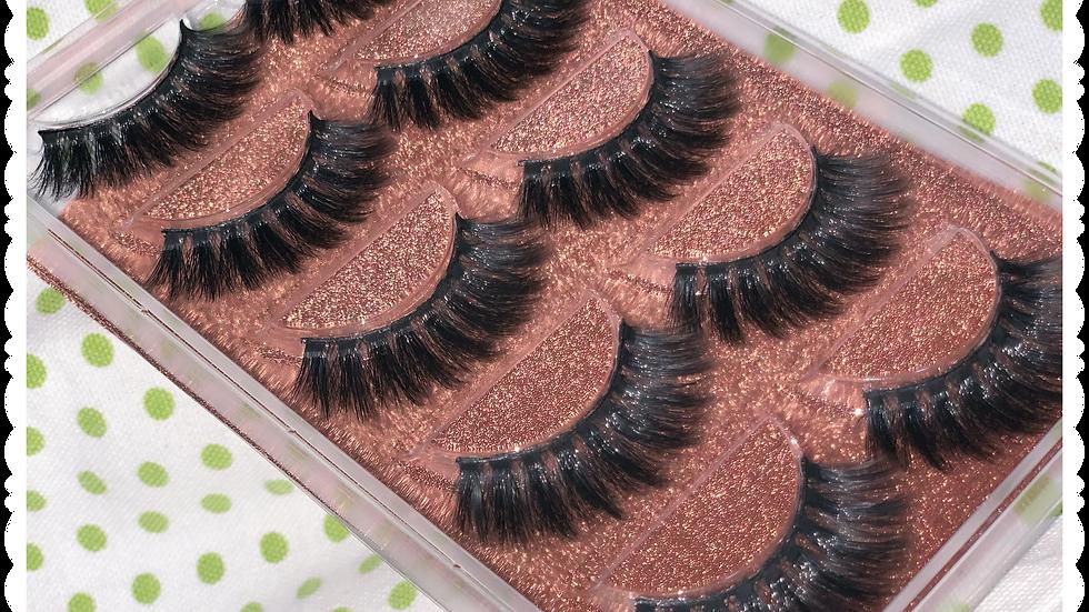 Lavish Queen -Natural Faux hair Mink 3d Faux Lashes 5pk