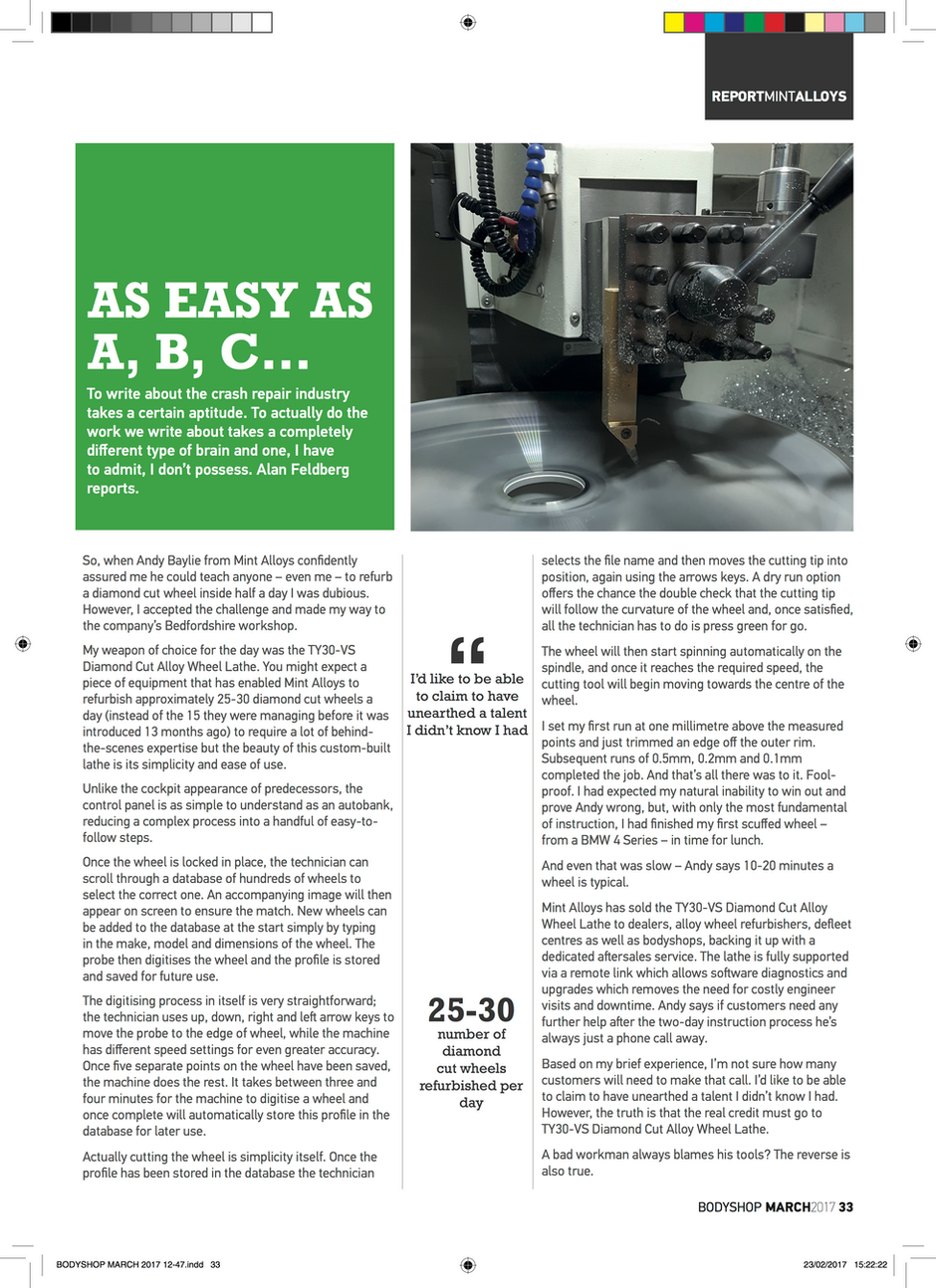 Article from BODYSHOP Magazine March 2017