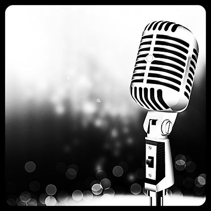 Microphone on stage against a background