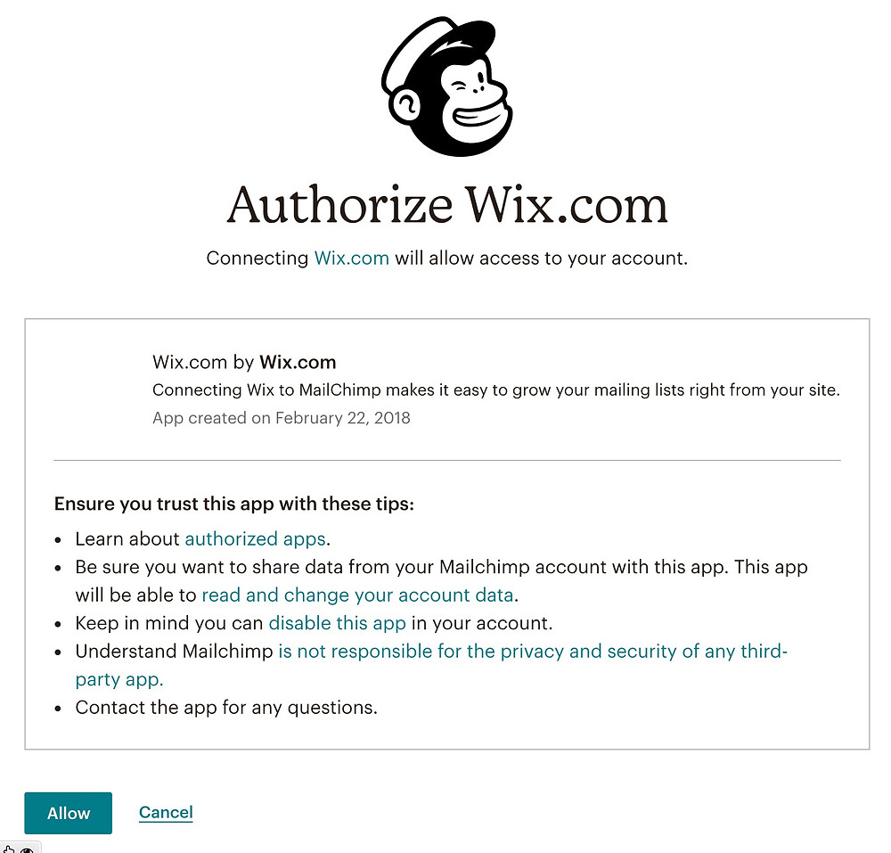 Authorize Wix to Malichimp Connection | UTCREATIVE
