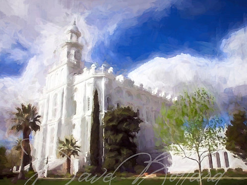 St. George Utah - LDS Temple Fine Art | White Clouds -- (Instant Download)