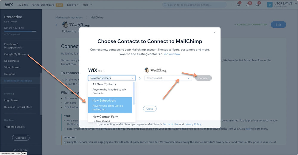 New Subscriber Wix to Malichimp Connection | UTCREATIVE