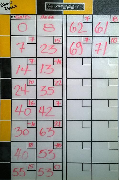 Scoreboard with erasable felt pen on a plexiglass