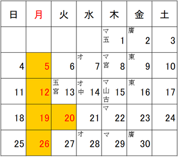4月の店休日・個人休のお知らせ