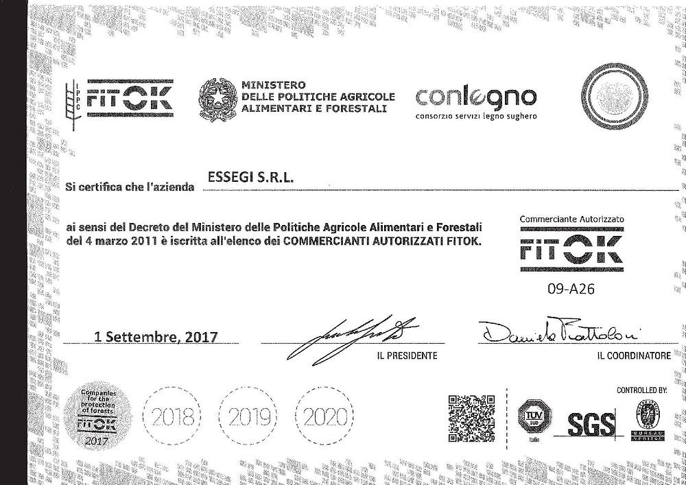 """Autorizzazione """"COMMERCIANTE AUTORIZZATO FITOK 09-A26"""""""