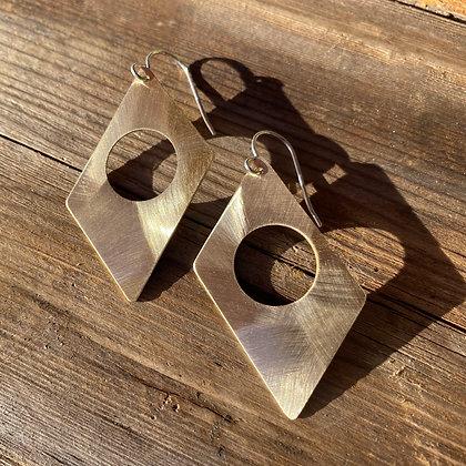 Mid-Century Modern Earrings in Brass