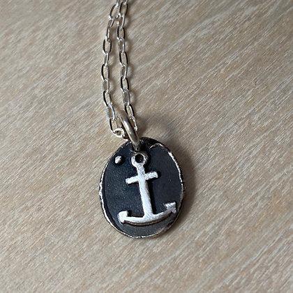 Tiny Black Silver Anchor Pendant