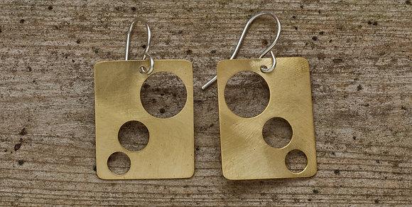 The Comets Mid-Century Modern Earrings in Brass
