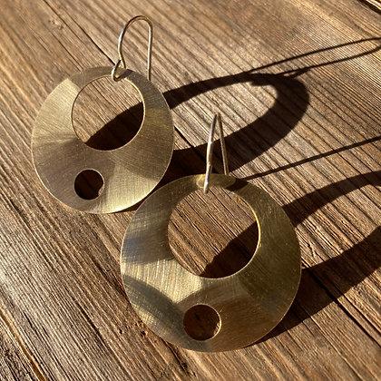 Double Boope Mid-Century Modern Earrings in Brass