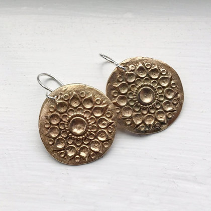 Mandala Earrings in Bronze