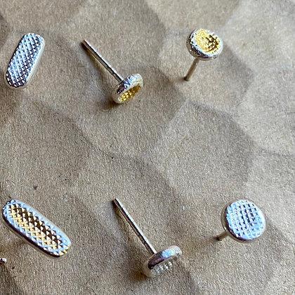 Cross Amp Mini Stud in Silver or Gold